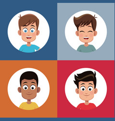 set boys student character image vector image