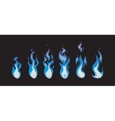 Blue fire animation sprites flames vector image vector image