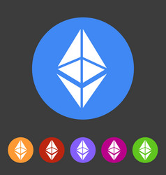 ethereum cryptocurrency icon flat web sign symbol vector image