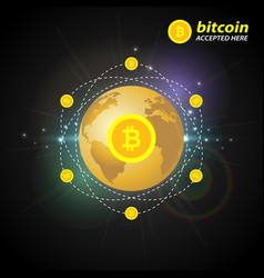 gold bitcoin on the background of the planet vector image