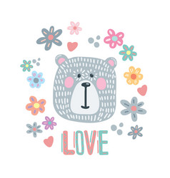 hand drawn funny cute polar bear vector image vector image