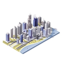 isometric city downtown vector image vector image