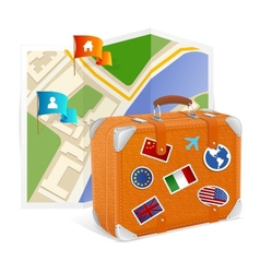 map icon and suitcase vector image