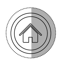 round symbol house with roof and door icon vector image vector image
