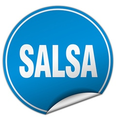 Salsa round blue sticker isolated on white vector