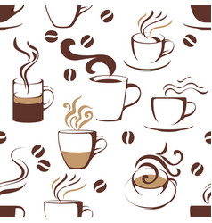 Seamless pattern with coffee cups vector image