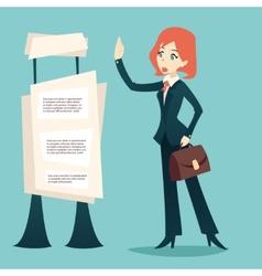Cartoon Retro Vintage Businesswoman Caes Character vector image vector image