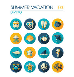 diving flat icon set summer vacation vector image vector image