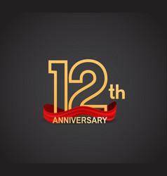 12 anniversary logotype design with line golden vector