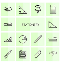 14 stationery icons vector image