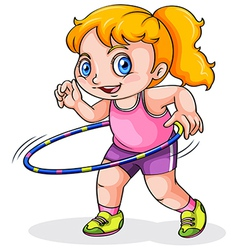A young Caucasian girl playing with a hulahoop vector