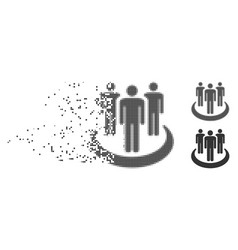 Affiliate disintegrating pixel halftone icon vector