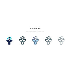 Artichoke icon in different style two colored vector