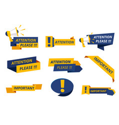 attention badges important messages notice vector image