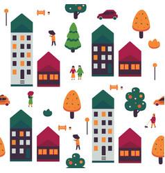 autumn cityscape seamless vector image