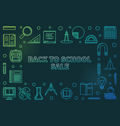 back to school sale colorful linear vector image
