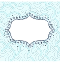 Background with banner flowerframe blue vector image