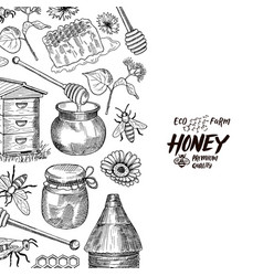 Background with sketched honey elements vector