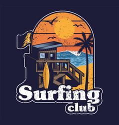 beach wood house surfing club beach vector image