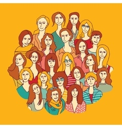 Big group women round color vector