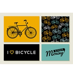 Bike outline concept set retro pattern label text vector image
