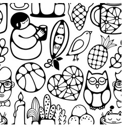 black and white seamless pattern with characters vector image