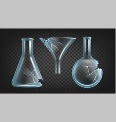Broken laboratory flasks and funnel set vector
