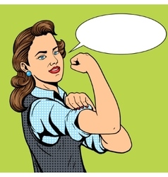 Business woman hand gesture pop art style vector image