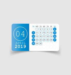 Calendar april 2019 year in paper sticker with vector