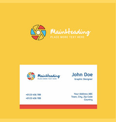 camera shutter logo design with business card vector image