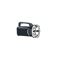 camping black flashlight icon silhouette hiking vector image