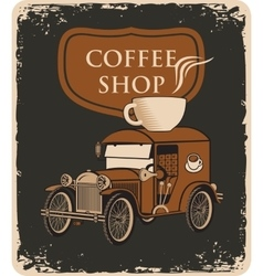 car and cup of coffee on roof vector image