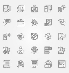 Cashback outline icons set cashback and vector