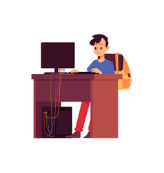 Caucasian brunet boy sits at a desk with a vector