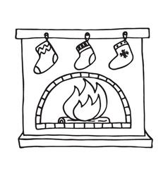 Christmas fireplace on white background vector image