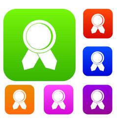 circle badge wih ribbons set collection vector image
