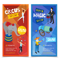 Circus vertical isometric banners vector