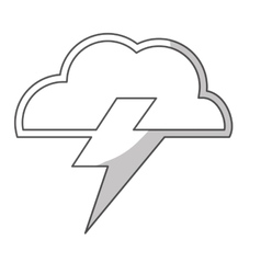 Cloud and bolt icon vector