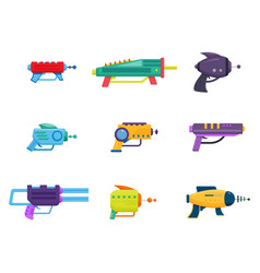 Collection of space laser ray guns colorful toy vector