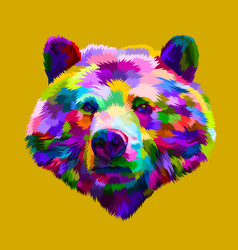 colorful bear head on pop art style vector image