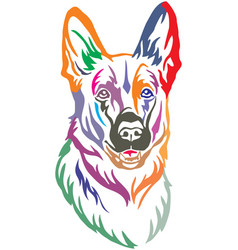 colorful decorative portrait of dog shepherd vector image