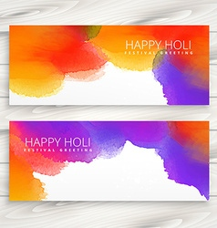Colorful ink banners of holi festival vector