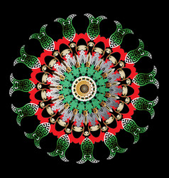 colorful ornamental vintage greek mandala pattern vector image