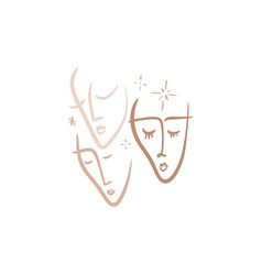 continuous line art face sketch modern abstract vector image