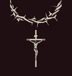 crucifixion jesus christ and crown thorns vector image
