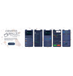 Crypto wallet mobile app template vector