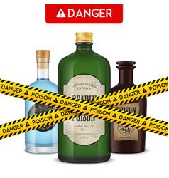 Dangerous bottles poison poster vector