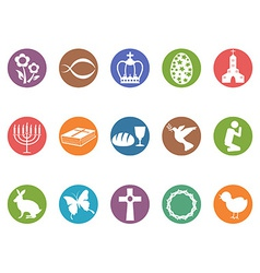easter day button icons set vector image