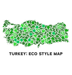 Ecology green collage turkey map vector