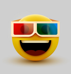 Emoji with 3d glasses emoticon watching 3d movie vector